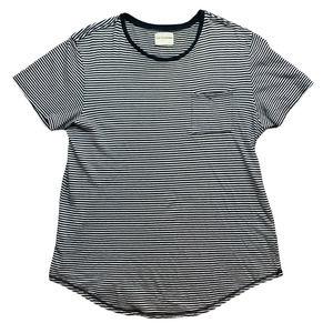 On The Byas Stripped Black T-Shirt Mens Large